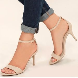 Lulu's natural suede ankle strap heels